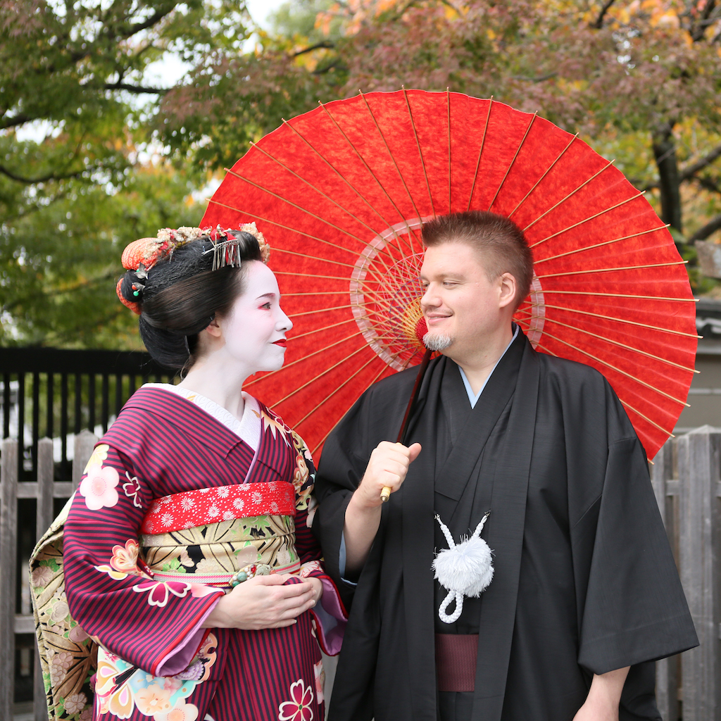 Spousal Unit and I in Formal Kimono with Parasol