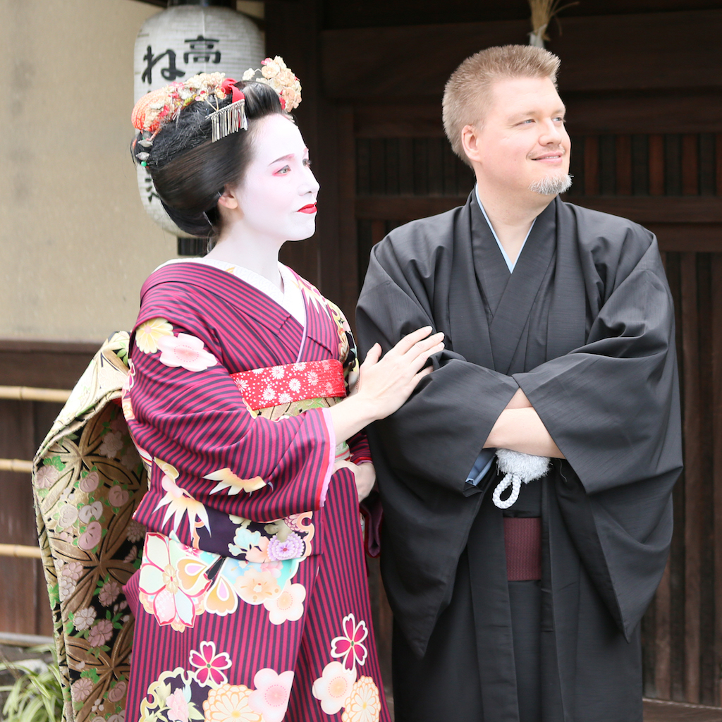 Spousal Unit and I in Formal Kimono Outside House