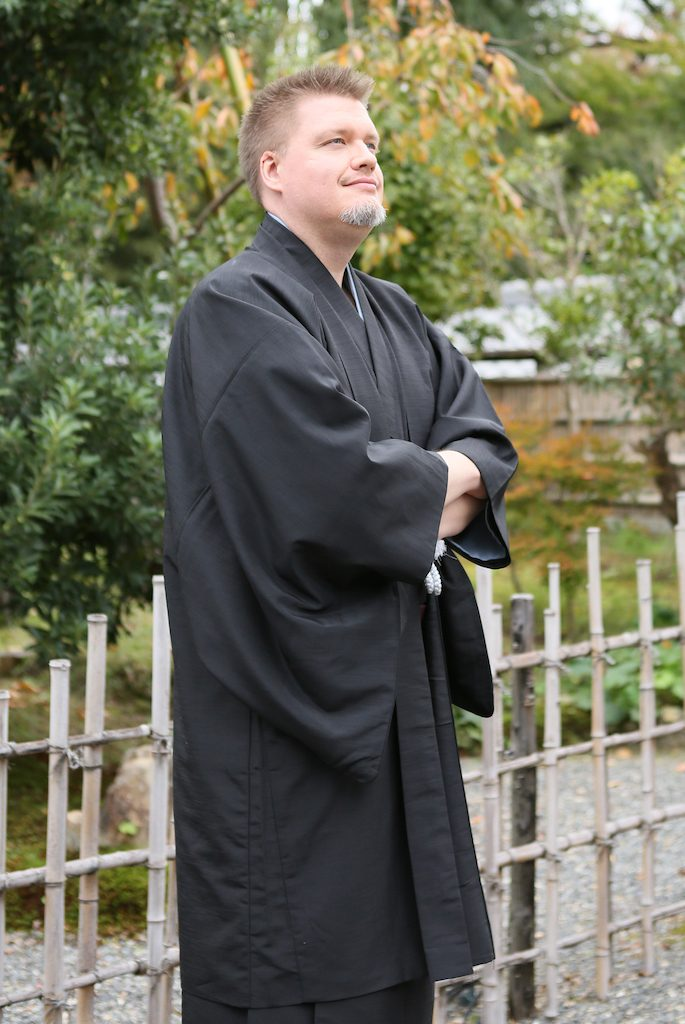 Spousal Unit in Kimono with Arms Crossed